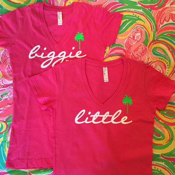 Custom Lilly Pulitzer Inspired V neck Big Little Biggie GBIG Sorority shirt