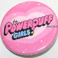 "Licensed cool PROMO the Powerpuff Girls Logo Name PINK HEART  1 1/4"" Button Pin Lanyard Charm"
