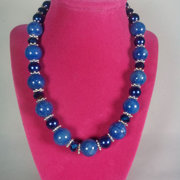 A-B blue pearl necklace