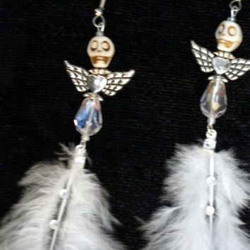Halloween Earrings, Skull Jewelry, Día de Muertos, Day of the Dead, Feather Earrings,  Skullies Angels By Posh Signatures
