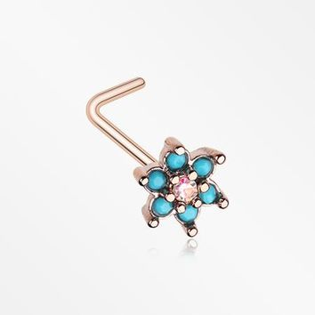 Rose Gold Spring Flower Turquoise Sparkle L-Shaped Nose Ring