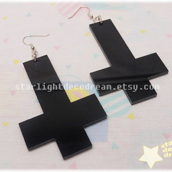 Large Shiny Black Laser Cut INVERTED Cross Earrings for Cult Party Kei or Fairy Kei
