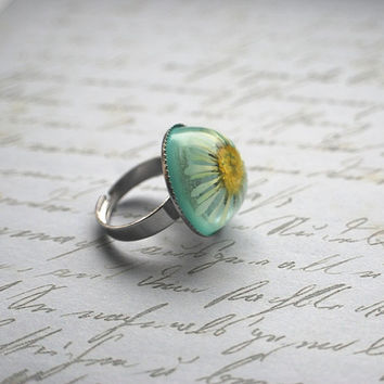 Real Daisy Ring Real Flowers Resin Ring by NaturalPrettyThings