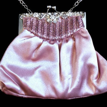 Vintage Pink Satin Evening Bag, Pink Satin Handbag, Pink Satin Purse, Pink Satin Clutch, Pink Satin Prom Bag, Pink Satin Wedding Bag