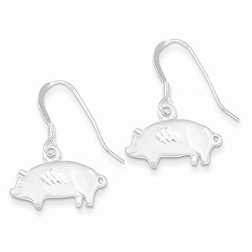 Sterling Silver Satin Pig Earrings, Best Quality Free Gift Box Satisfaction Guaranteed