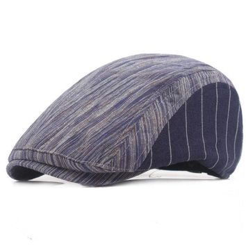 Men Women Cotton Stripe Beret Hat Adjustable Buckle Paper Boy Newsboy Cabbie Golf Gentleman Cap