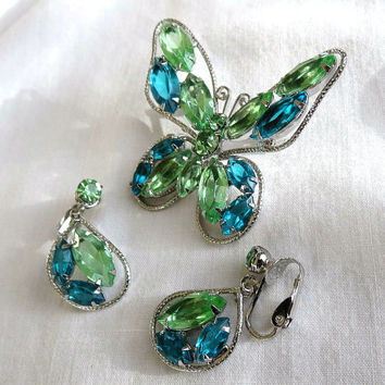 Vintage Blue and Green Rhinestone Butterfly Brooch or Pin and clip Earrings Demi Parure Set