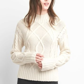 Cable knit mockneck sweater|gap