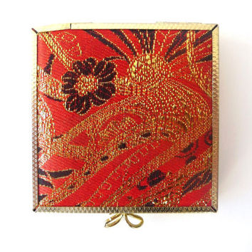 Vintage Compact Mirror - Orange and Golden - Flowers Pattern