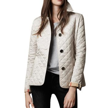 Women's Jackets Coat Outwear Thin Padded Cotton Plaid Quilting
