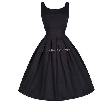 2015 Audrey Hepburn Vestidos S-XXL Plus Size Women Summer Black Retro Casual Party Robe Rockabilly 50s Vintage Dresses = 1946817028