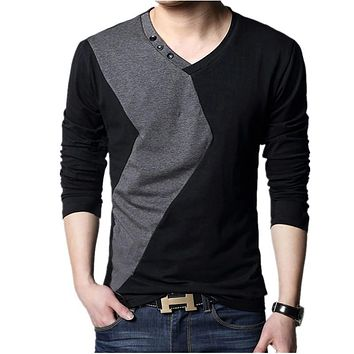 Big size cotton t shirt  Spring/autumn fashion mens T-shirt homme men's long sleeved V-neck patchwork color casual T-shirts