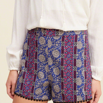 Embroidered-Hem Tap Shorts