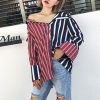 Women Fashion Personality Multicolor Stripe Back Split Asymmetric Long Sleeve Lapel Cardigan Shirt Tops