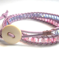 Beaded Wrap Bracelet Purple Pink Beaded