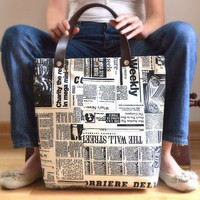 $67.00 Newspaper Tote Bag  Printed Fabric  by renklitasarimlar on Etsy