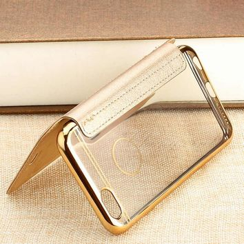 Mobile Phone Shell for iPhone 6 / 6 Plus Card Slot Holder Plating Frame PU Leather Flip Cover Stand Case for iPhone 6s / 6s Plus