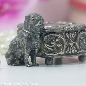 Silver Ring Box: Vintage Silver Plated Jewelry Box w Pug Dog Decoration / Tiny Box / Stamp Box / Pill Box, WM Rogers MFG Co. Hartford. CONN