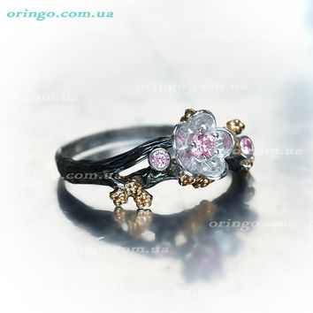 Flower ring Hanami cherry blossom Sterling Silver 925 romantic jewelry black rhodium plating gold plating