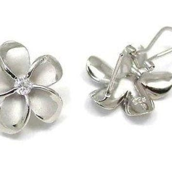 24MM SILVER 925 HAWAIIAN PLUMERIA OMEGA BACKS RHODIUM