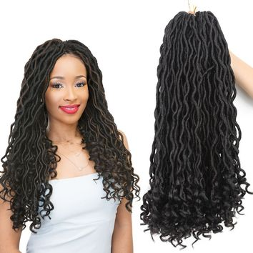 6pcs/pack Goddess Faux Locs Ombre Curly Crochet Hair Braids 24 roots/pack Real Faux Locs with Curly Ends Synthetic Braiding Hair Extension 20 inch (1b/27)