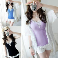 Girl Women's Lace Tank Top Sling Camisole Cami Shirt Vest Slim Sexy Tank Top F_F = 1904765124