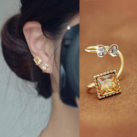 Amber and Bow Rhinestone Ear Cuff (Single, No Piercing) | LilyFair Jewelry