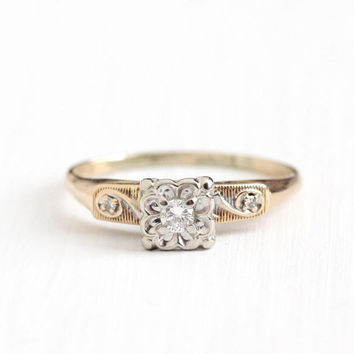 Vintage 14K Rosy Yellow & White Gold 1/10 CTW Diamond Ring - Size 9 Two Tone Diamond Shoulders 1950s Engagement Wedding Fine Bridal Jewelry