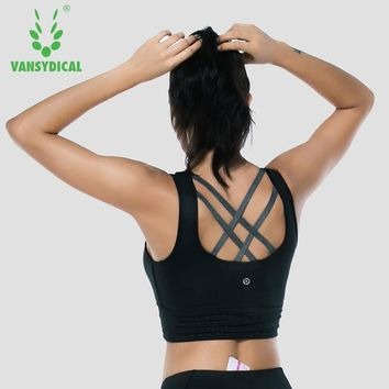Women Sports bras Yoga Fitness Tops Removable Cup Cross Back Strips Workout Gym Vest Sleeveless Vansydical