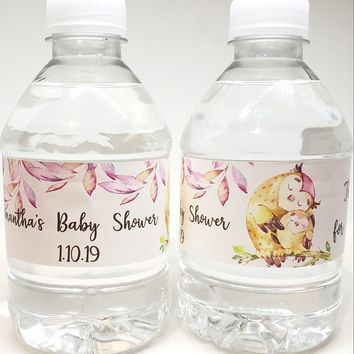21 Woodland Owl Baby Shower Water Labels