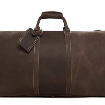 Milan Overnight Leather Travel Bag in Vintage Brown