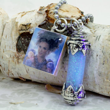 """Once Upon A Time Necklace """" Blue Fairy """" and Glowing Blue Pixie Dust - OUAT - Storybrooke - Fairy Tales - Fairy Dust"""