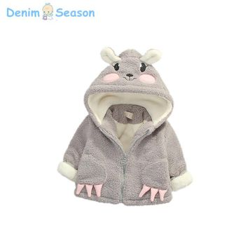 Denim Season Snowsuit Baby Girls Coat Winter Warm Cashmere Thick Jacket Cartoon Hooded Outerwear Children Clothing For Christmas