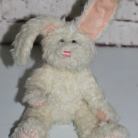 90s plush White floppy bunny rabbit Plush Kawaii baby nursery room home decor gift lolita articulating joints. pastel goth Stuffed Animal