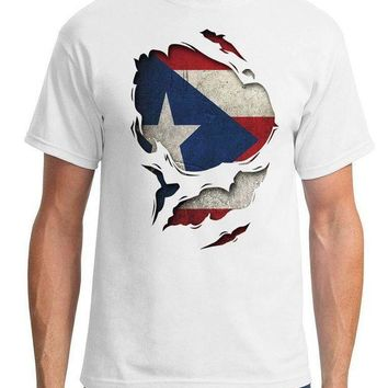 ESBXT3 Puerto Rico Ripped Effect Under Shirt - Mens T-Shirt Adults Casual Tee Shirt T Shirts Man Clothing Free Shipping Top Tee