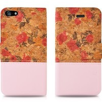 Vintage flower rose, pink floral PU leather flip case with card slot for iPhone 5s / 5c / 5