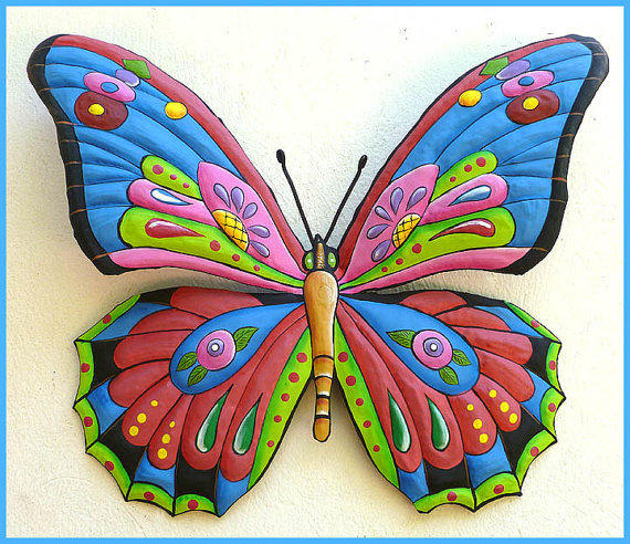 Painted metal butterfly wall hanging from tropic accents for Funky garden accessories