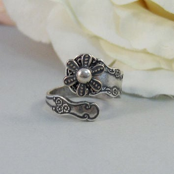 Dainty Blossoms,Ring,Silver,Spoon,Spoon Ring,Antique Ring,Silver Ring,Wrapped,Adjustable,Bridesmaid. Handmade jewelery by valleygirldesigns.