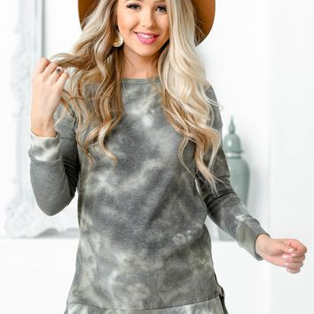 Dusty Olive Waffle Texture Long Sleeve Top