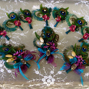 Glorious Peacock Corsage & Boutonniere Collection - Custom Listing for JEN