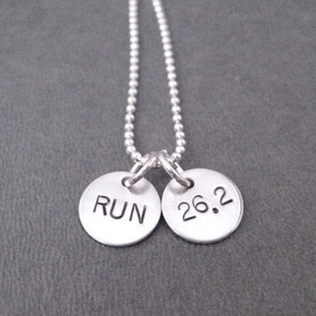 RUN 26.2 Sterling Silver 2 Disc Marathon Necklace - 16, 18, 20 inch Sterling Silver Ball Chain - Marathon Running Jewelry - Marathon Runner