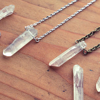 Raw Quartz Crystal Point Layering Necklace - Natural Clear Cloudy Smooth Rough White Gemstone with Silver / Gold / Vintage Brass Chain