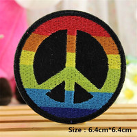 1 PCS Colorful Cotton Badge Clothes Embroidered Iron on Patches for Clothing DIY Stripes Motif Appliques parches bordados 6.4 CM