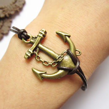 Bracelet---antique bronze anchor ,alloy bracelet