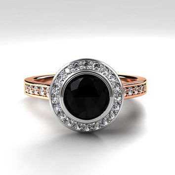 Black spinel halo engagement ring, rose gold, white gold, two tone ring, bezel engagement ring, black halo, solitaire, unique, diamond ring