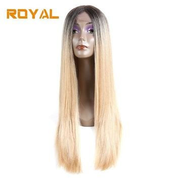 Royal #613 Blonde Two Tone Ombre Brazilian Human Hair Wigs Long Straight Hair Wig Wth Middle Part 22Inch Non-Remy Hair