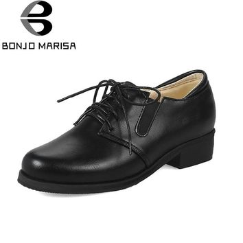 BONJOMARISA Women's Vintage Lace Up Rubber Sole Chunky Heels School Girl Shoes Woman Outside Oxfords Big Size 32-48