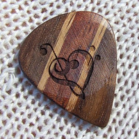 Handmade Custom Laser Engraved Guitar Pick - Treble and Bass Clef Heart - Oak - Walnut and Bubinga