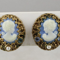 Vintage Signed West Germany Celluloid Rhinestone Cameo Earrings