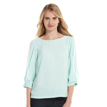 LC Lauren Conrad Bow-Sleeve Crepe Top - Women's, Size: